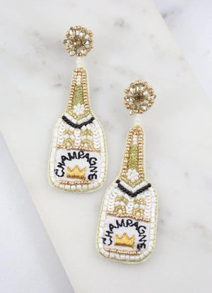 Champagne Bottle Embellished Earring White - Caroline Hill