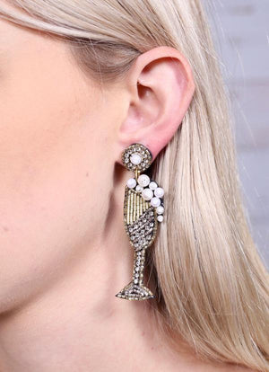 Champagne Bubbles Embellished Earring Gold - Caroline Hill