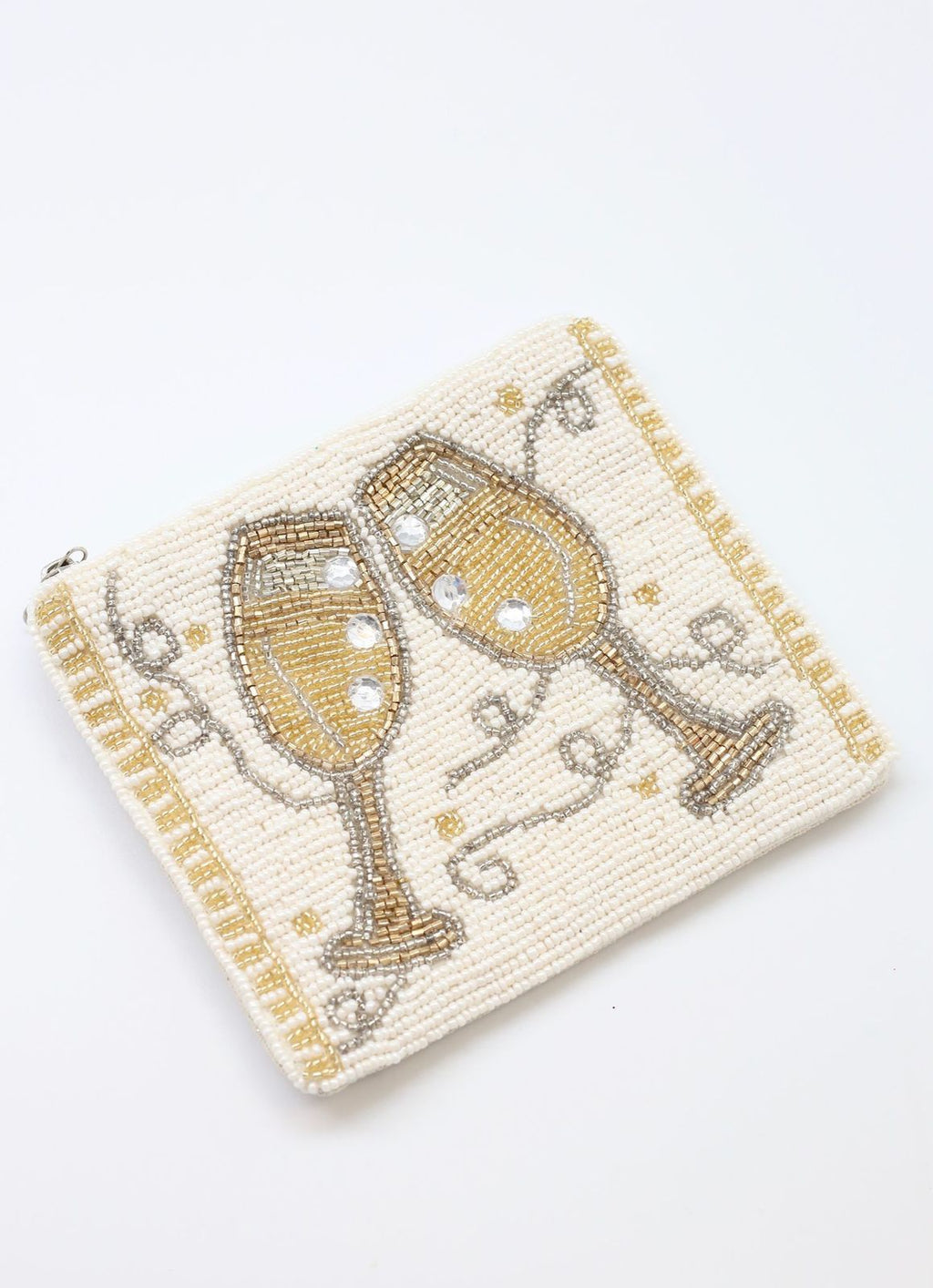 Cheers Champagne Beaded Coin Purse Ivory - Caroline Hill