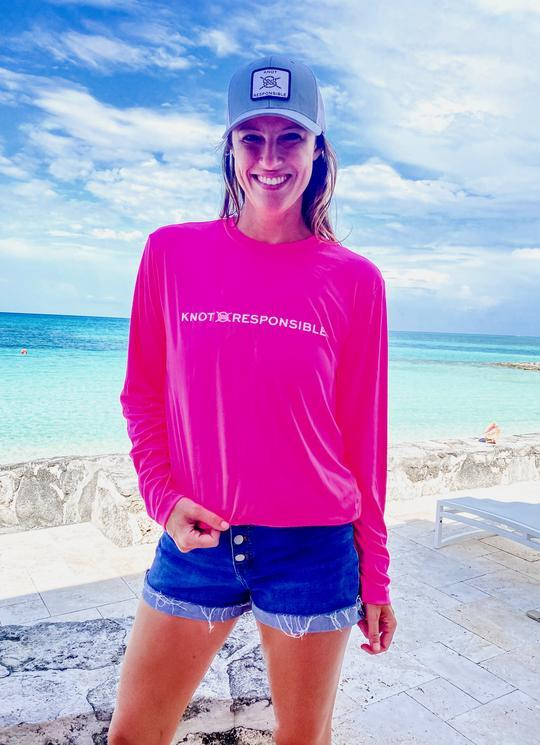 Chest Logo Performance Long Sleeve - Hot Pink - Caroline Hill