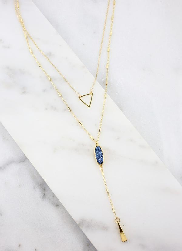 Chester Layered Necklace With Blue Druzy - Caroline Hill