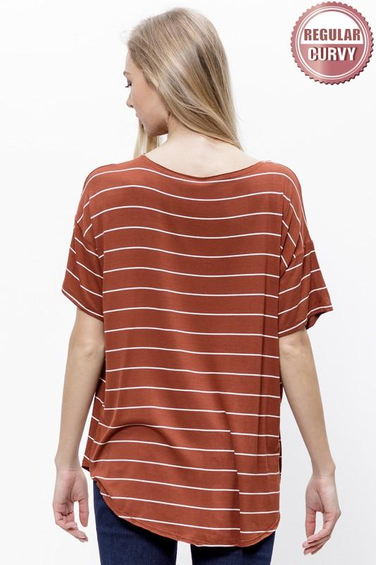 Cinnamon Latte Striped Pocket Tee - Caroline Hill