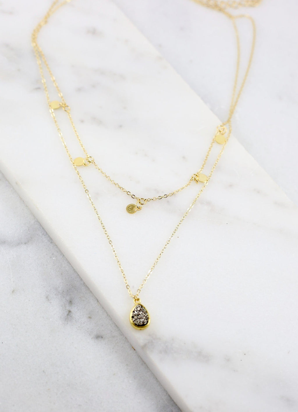 Clancey Layered Necklace With Black Druzy - Caroline Hill