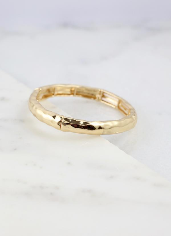 Clark Shiny Gold Hammered Stretch Bracelet - Caroline Hill