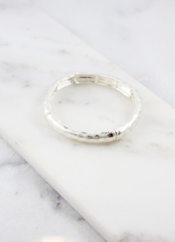 Clark Worn Silver Hammered Stretch Bracelet - Caroline Hill