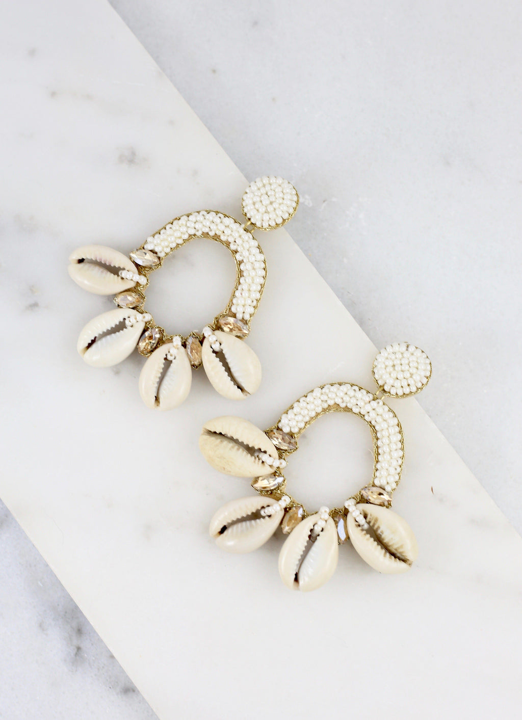Clarkston Beaded Shell Earring - Caroline Hill