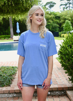 Classic Logo Cotton Pocket Tee- Denim - Caroline Hill