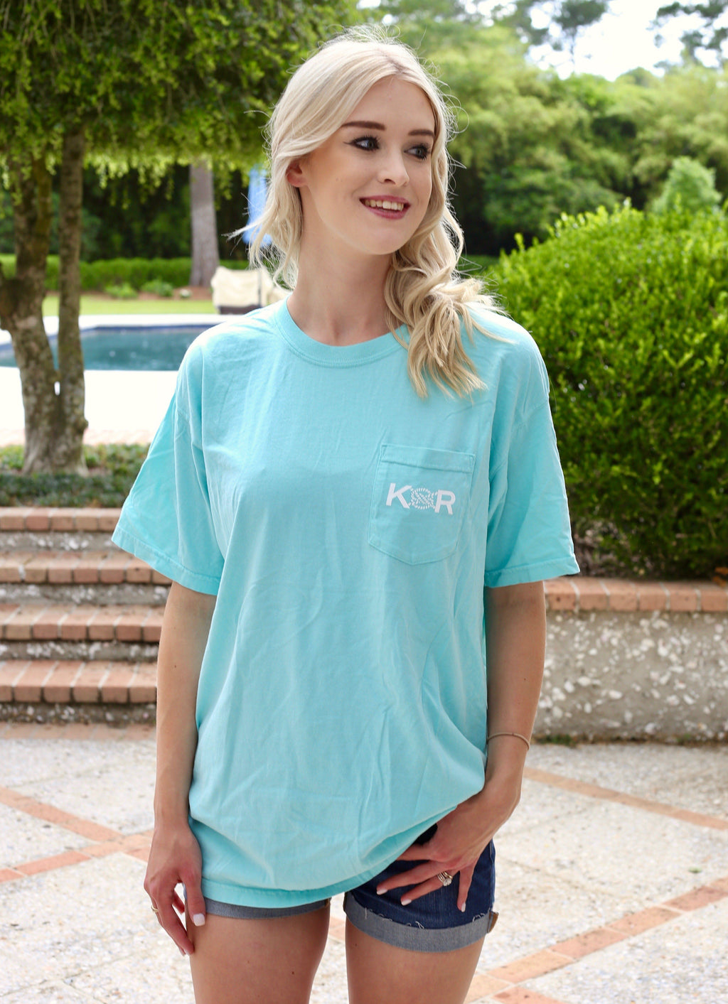 Classic Logo Cotton Pocket Tee- Mint - Caroline Hill