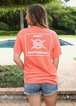 Classic Logo Cotton Pocket Tee- Tangerine - Caroline Hill