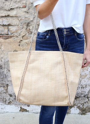 Classico Straw Tote With Silver Chain Natural - Caroline Hill