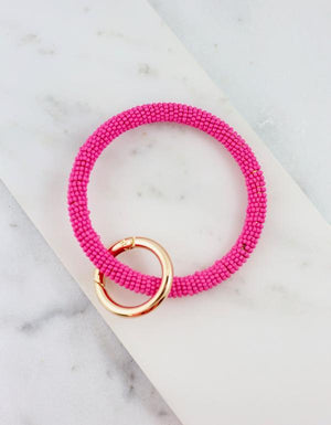 Clementine Hot Pink Beaded Keychain - Caroline Hill