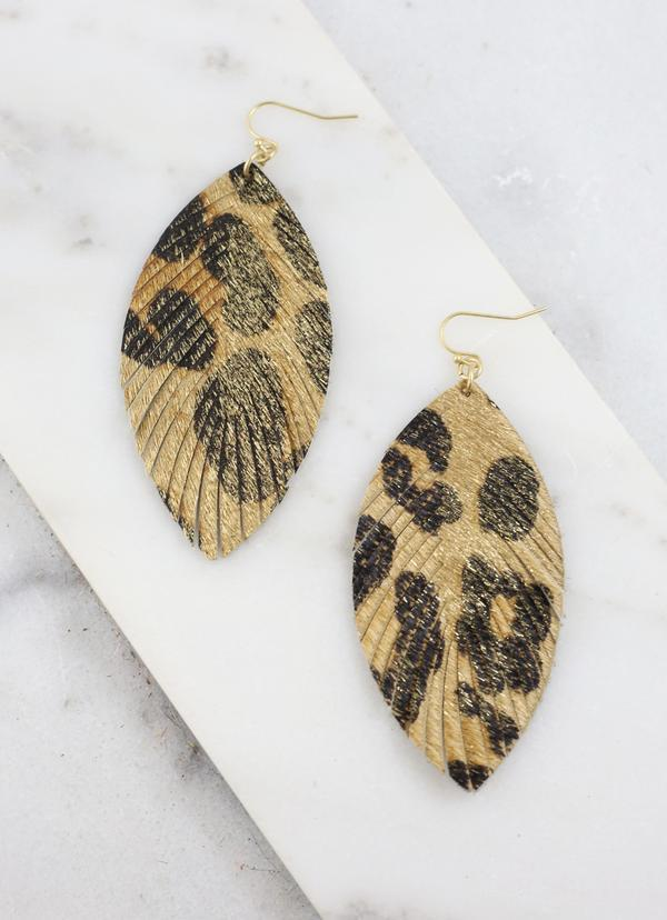 Cobb Gold Leopard Feather Earring - Caroline Hill