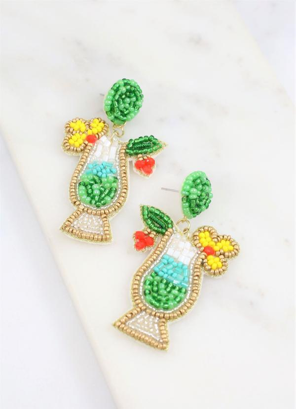 Colada Cocktail Embellished Earring Green - Caroline Hill