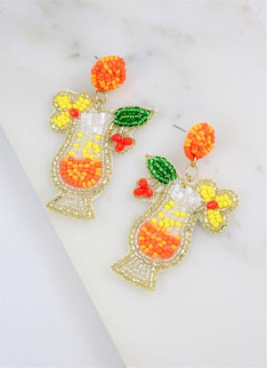 Colada Cocktail Embellished Earring Orange - Caroline Hill