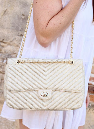 Collins Champagne Snake Quilted Crossbody - Caroline Hill