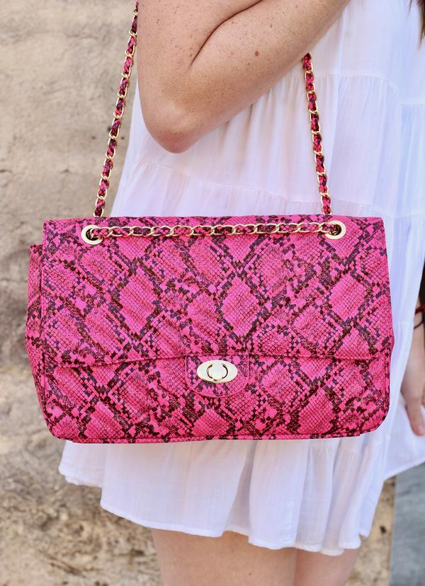 Collins Neon Pink Snake Quilted Crossbody - Caroline Hill
