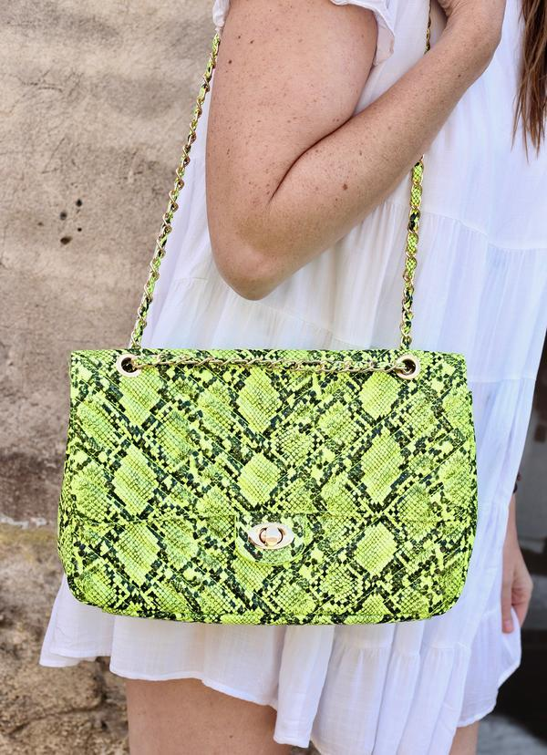 Collins Neon Yellow Snake Quilted Crossbody - Caroline Hill