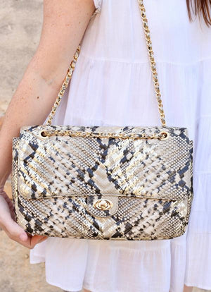 Collins Snake Gold Fleck Quilted Crossbody - Caroline Hill