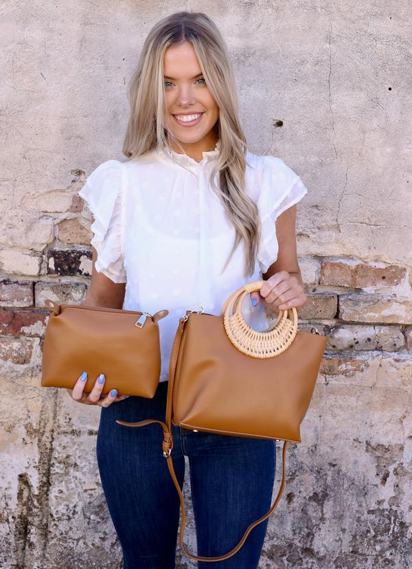 Coopers Bag Within A Bag With Straw Handle Tan - Caroline Hill