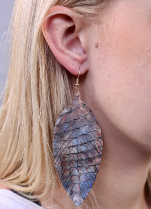 Cosima Pewter Animal Feather Earring - Caroline Hill