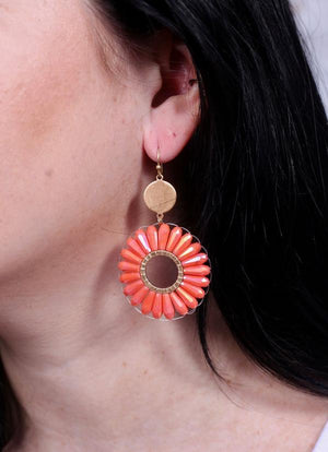 Costa Round Beaded Fish Hook Earring Coral - Caroline Hill
