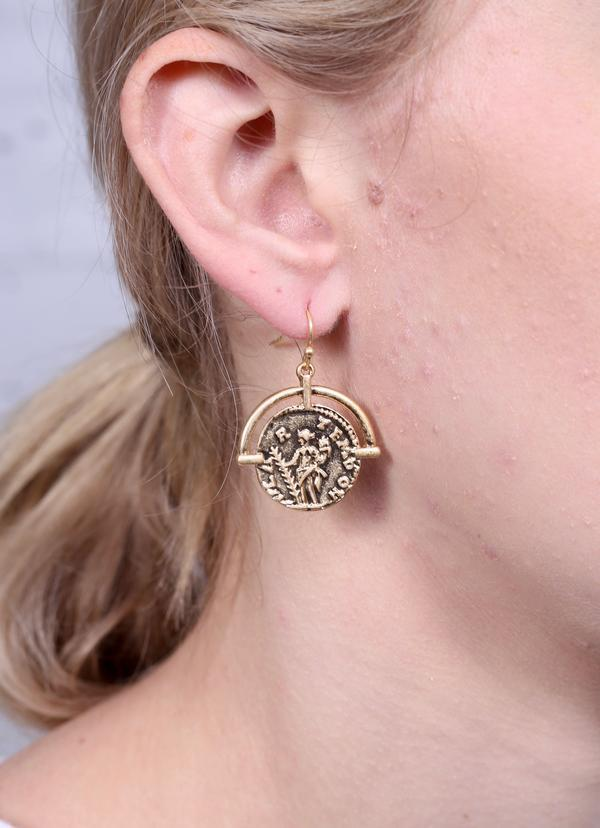 Covington Coin Fish Hook Earring Gold - Caroline Hill