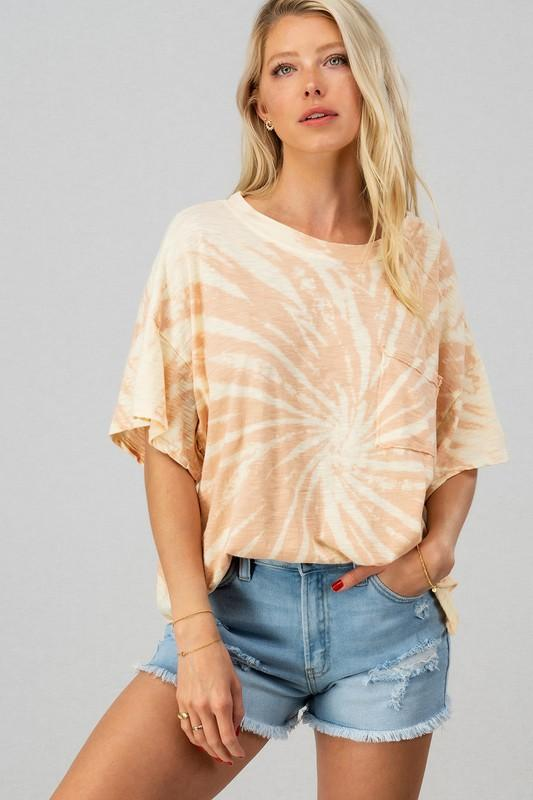 Cozy Crop Tie Dye Top Pink - Caroline Hill