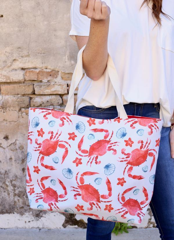 Crab Island Tote Bag Red - Caroline Hill