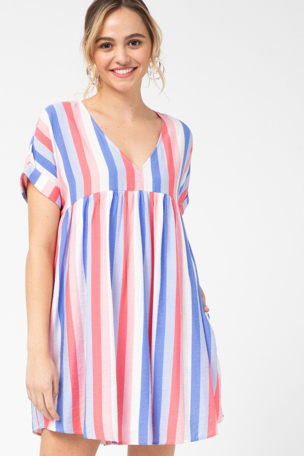 Crazy About You Coral Striped Dress - Caroline Hill