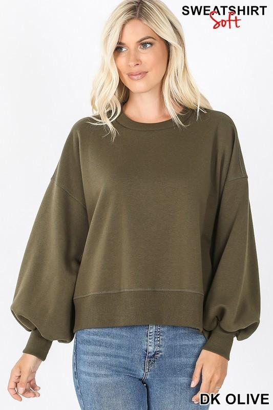 Crazy About You Olive Balloon Sleeve Sweatshirt - Caroline Hill