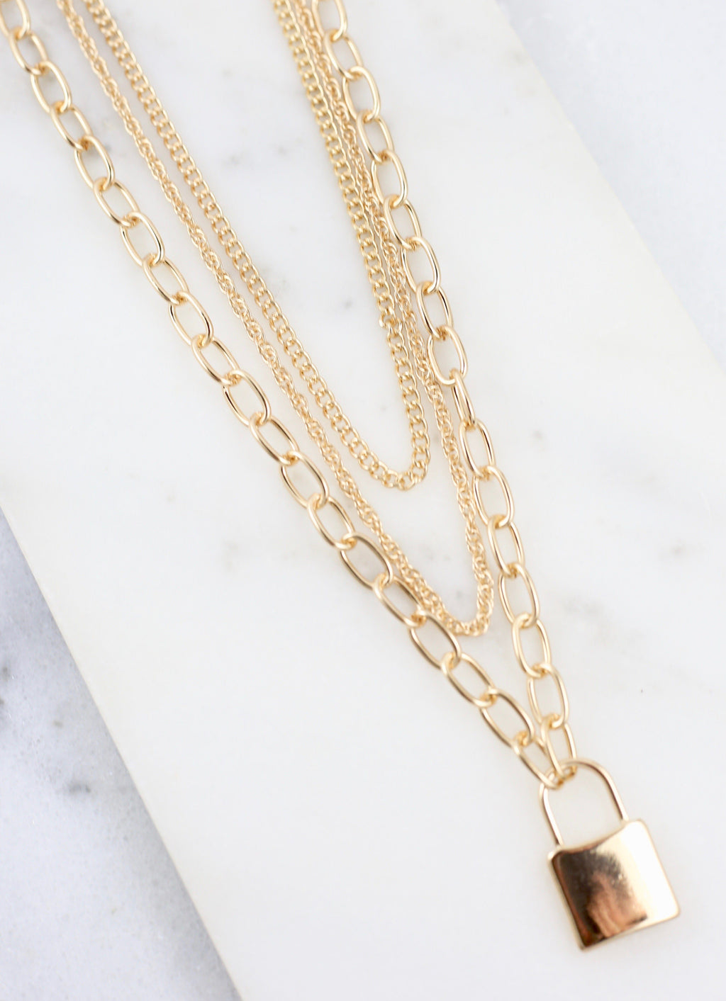 Criss Gold Lock Charm Layered Necklace - Caroline Hill