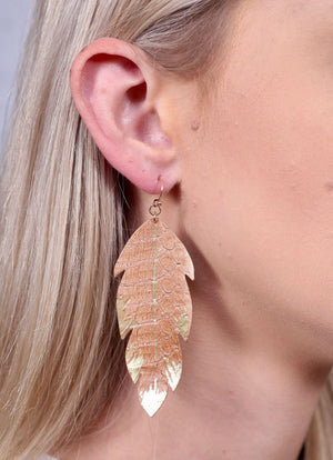 Cristina Gold Dipped Feather Earring Brown - Caroline Hill
