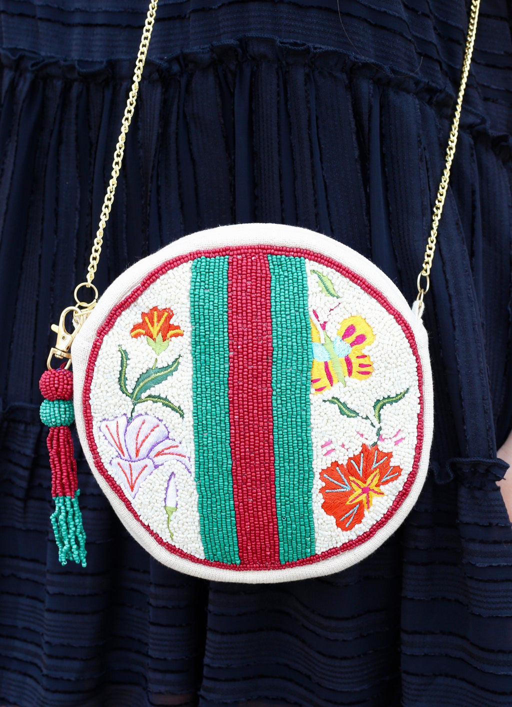 Dailey Round Beaded Crossbody Multi - Caroline Hill