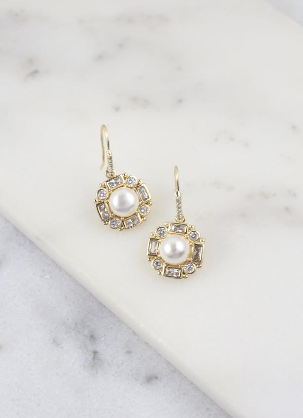 Daisy Cz And Pearl Drop Earring Gold - Caroline Hill