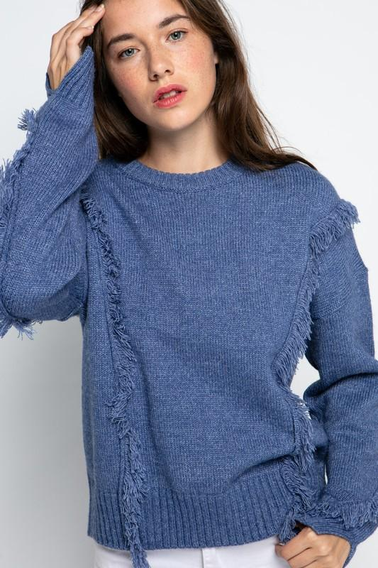 Daisy Denim Blue Fringe Sweater - Caroline Hill