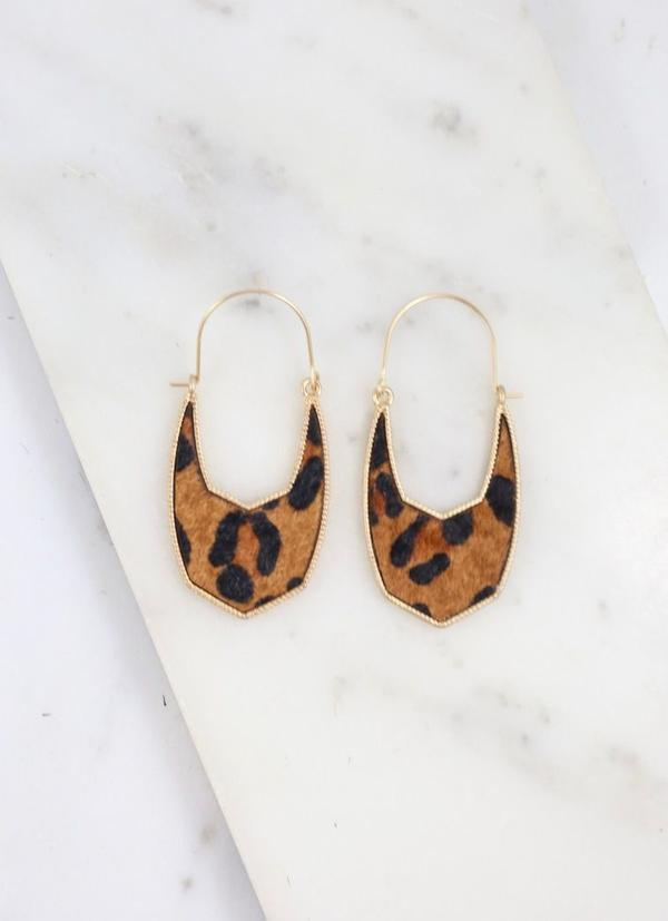 Danielle Animal Print Drop Earring Brown Leopard - Caroline Hill