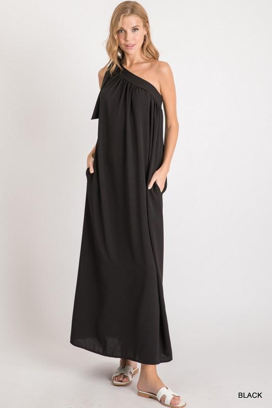 Dare to Be the Best Black One-Shoulder Maxi Dress - Caroline Hill