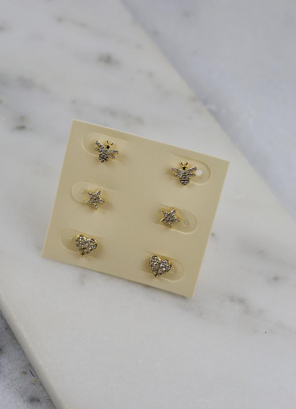 Darlene Cz Earring Set Gold - Caroline Hill