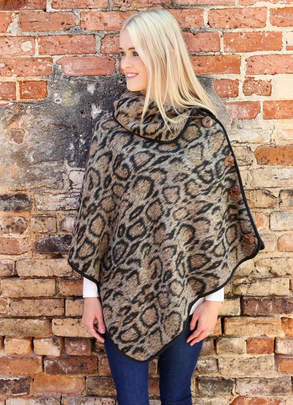 David Animal Print Poncho Taupe - Caroline Hill