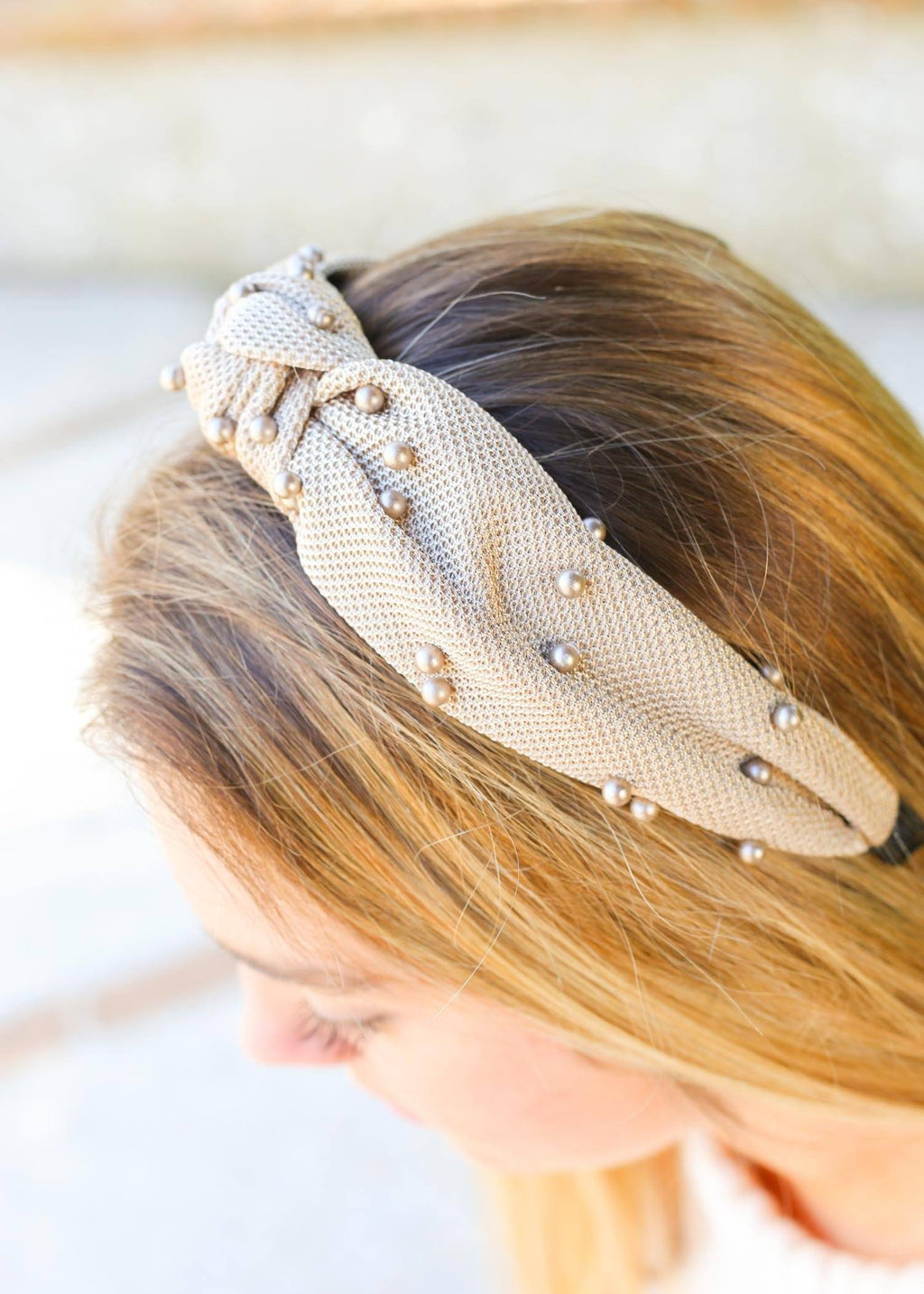 Dax Taupe Tone on Tone Pearl Headband - Caroline Hill