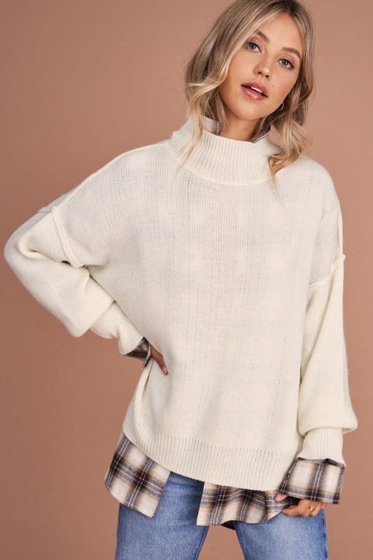 Day and Night Mockneck Ivory Sweater - Caroline Hill