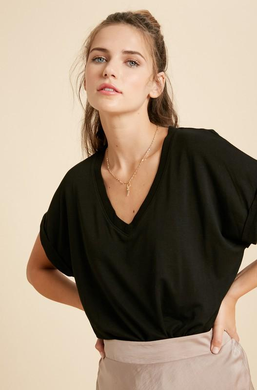Daydreaming Black V-Neck Bodysuit - Caroline Hill