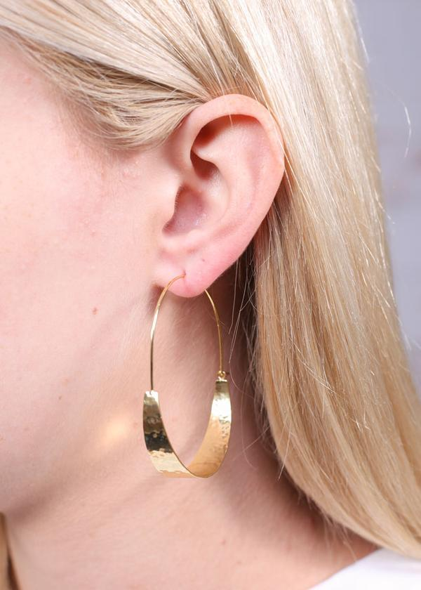 Decker Threader Hammered Earring Gold - Caroline Hill