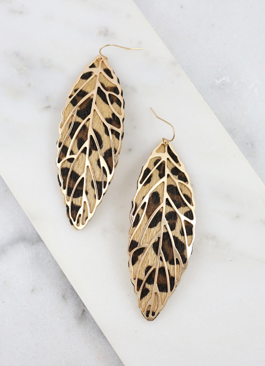 Dennehy Brown Leopard Feather Earring - Caroline Hill