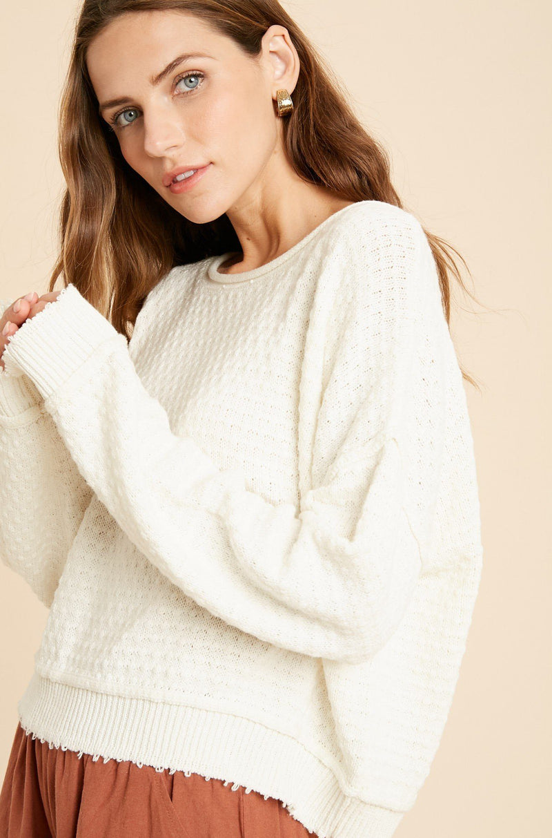 Desperate For You Cream Textured Sweater - Caroline Hill