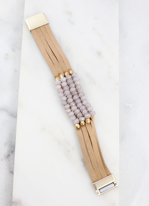 Destiny Gray Beaded Magnetic Bracelet - Caroline Hill