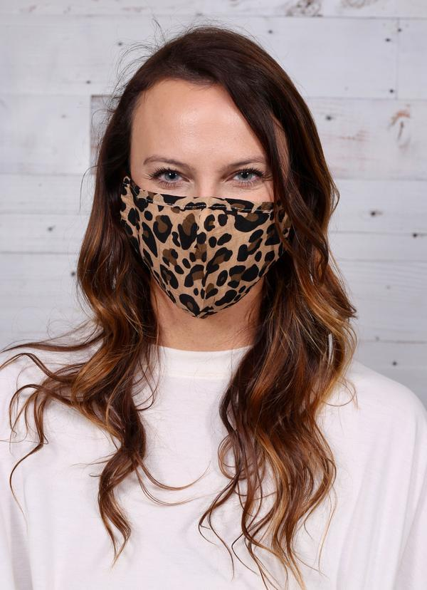 Devine Leopard Face Mask Brown - Caroline Hill