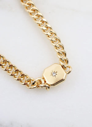 Dexter Chain Necklace With Cz Accents Gold - Caroline Hill