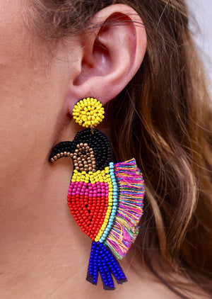 Donald Beaded Bird Earring - Caroline Hill