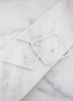 Donnie Square Matte Silver Latchback Hoop - Caroline Hill